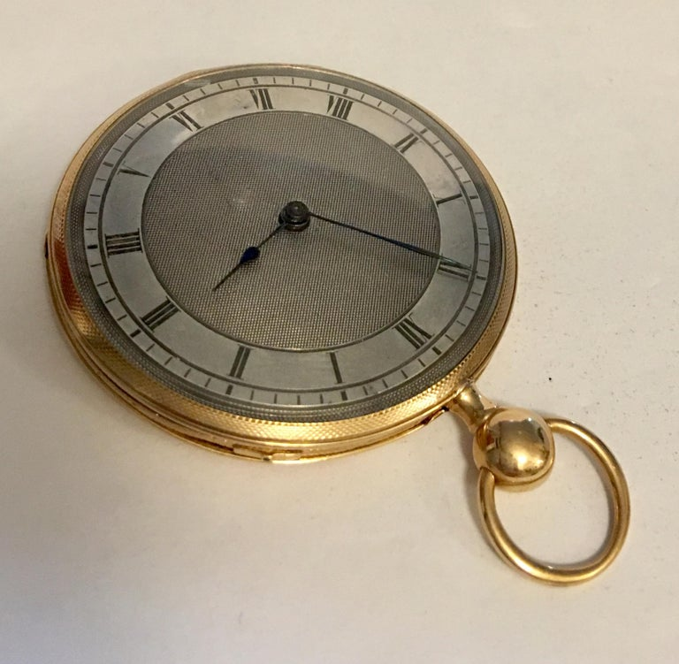 Lightweight Slim 14-Karat Gold Quarter Repeater Pocket Watch For Sale 1