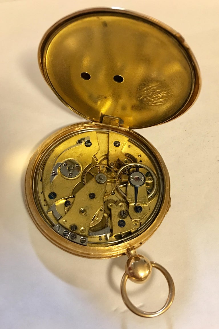 Lightweight Slim 14-Karat Gold Quarter Repeater Pocket Watch For Sale 2