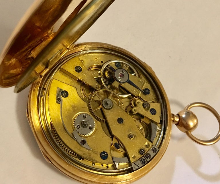 Lightweight Slim 14-Karat Gold Quarter Repeater Pocket Watch For Sale 3