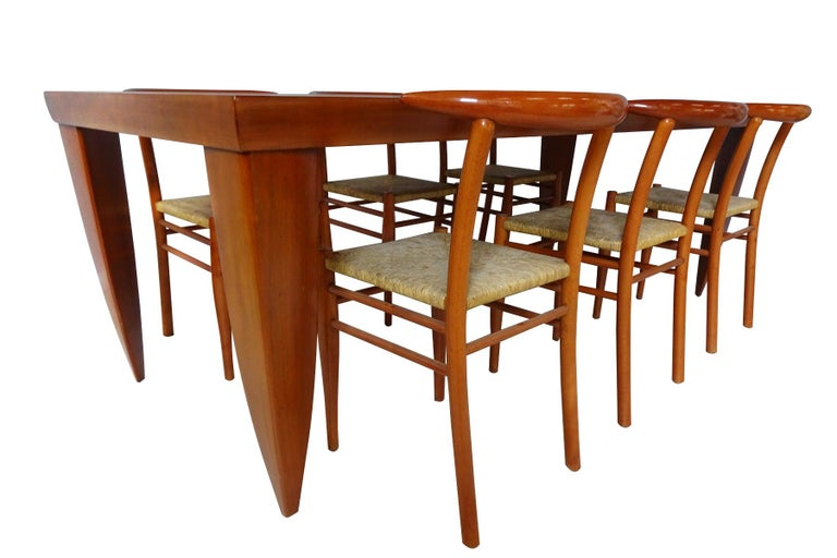 Post-Modern Dining Set  - Cherrywood Incorporating 6 Philippe Starck Tessa Nature Chairs For Sale