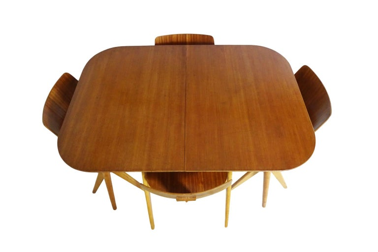 British Dining Set - Robin Day for Hille Midcentury 1950s table and 4 chairs For Sale
