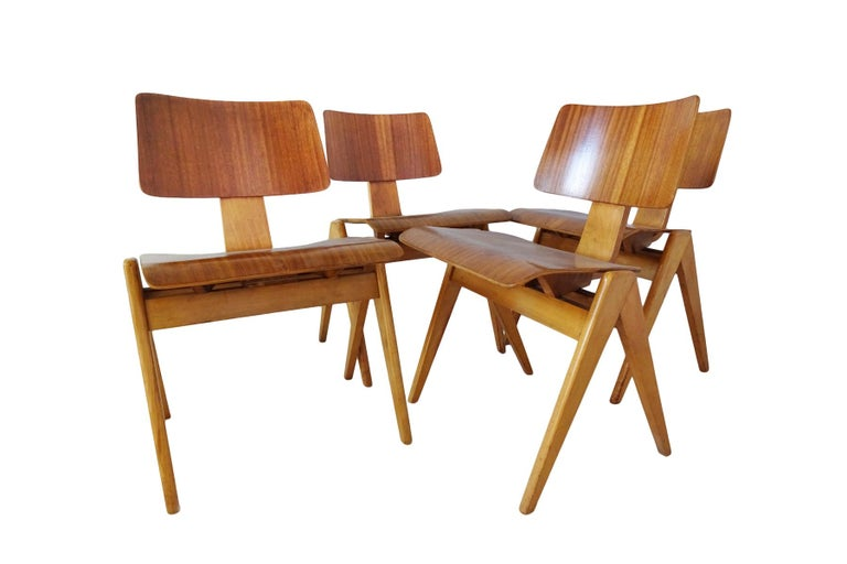 Beech Dining Set - Robin Day for Hille Midcentury 1950s table and 4 chairs For Sale
