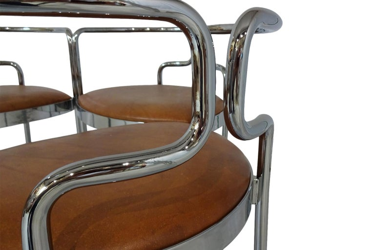 Mid-Century Modern Dining chairs - Midcentury Leather and Chrome 9230 Chairs for Fritz Hansen For Sale