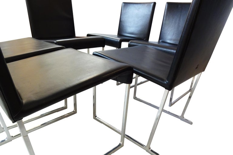 Modern 6 Dining Chairs - Black Leather and chrome by Antonio Citterio for B&B Italia  For Sale