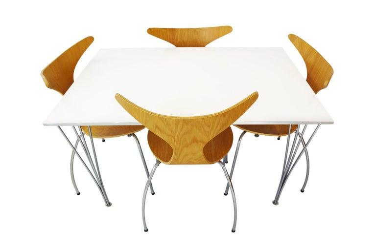 Danish Dining Set - Vintage Piet Hein Space Saving Table & Danform Chairs  For Sale
