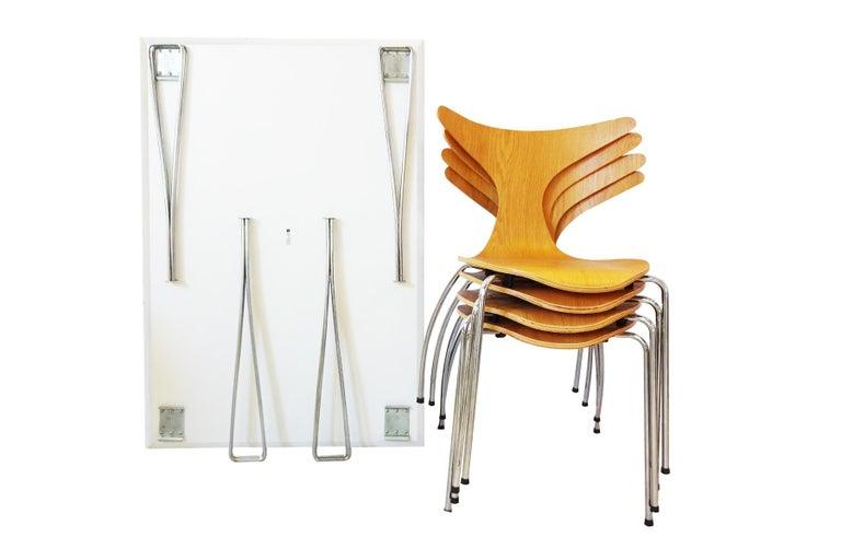 Veneer Dining Set - Vintage Piet Hein Space Saving Table & Danform Chairs  For Sale