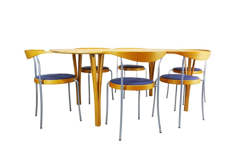 Mid-Century Modern Dining set - Super Ellipse Dining Table by Piet Hein - including 8 chairs For Sale