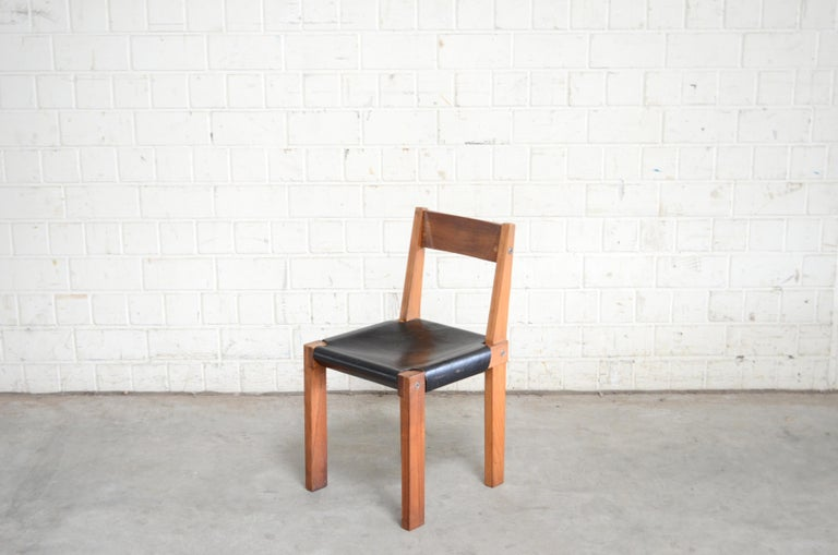 Mid-Century Modern Vintage Pierre Chapo Model S24 Saddle Leather Chair, circa 1970 For Sale