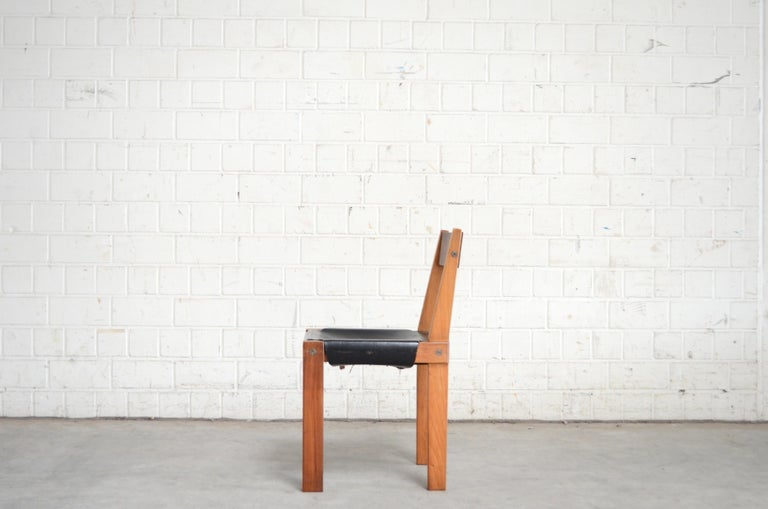 French Vintage Pierre Chapo Model S24 Saddle Leather Chair, circa 1970 For Sale