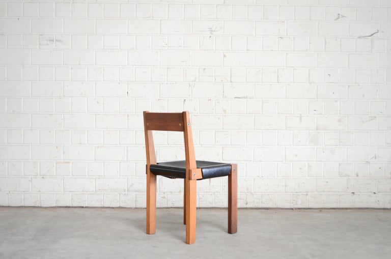 Vintage Pierre Chapo Model S24 Saddle Leather Chair, circa 1970 For Sale 7