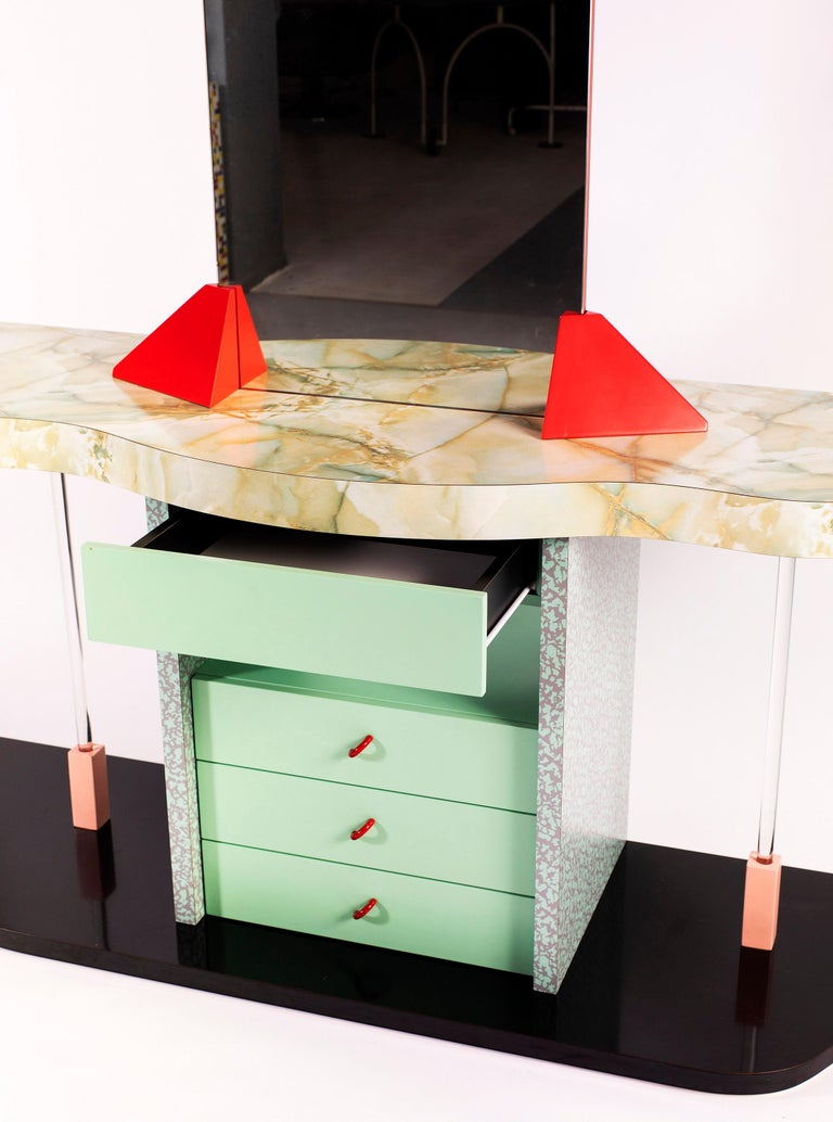 This Italian vanity desk is striking in the complexity of materials that were used and the attention to detail.
