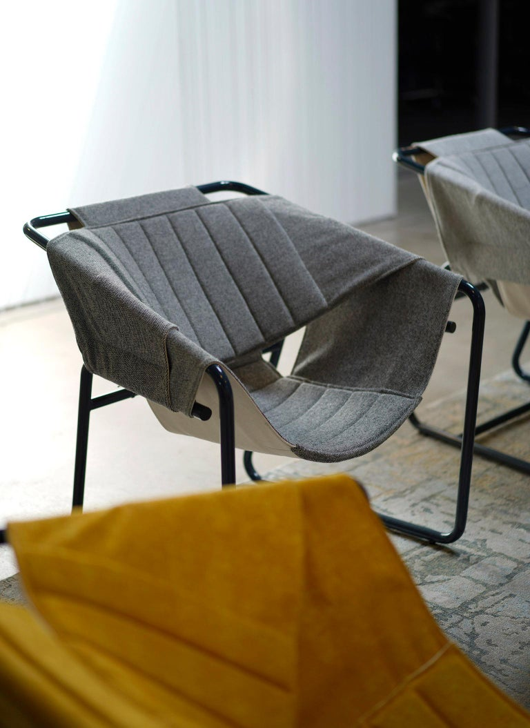 Contemporary Easy Chair in Bent Metal Tubing with Fabric Sling For Sale