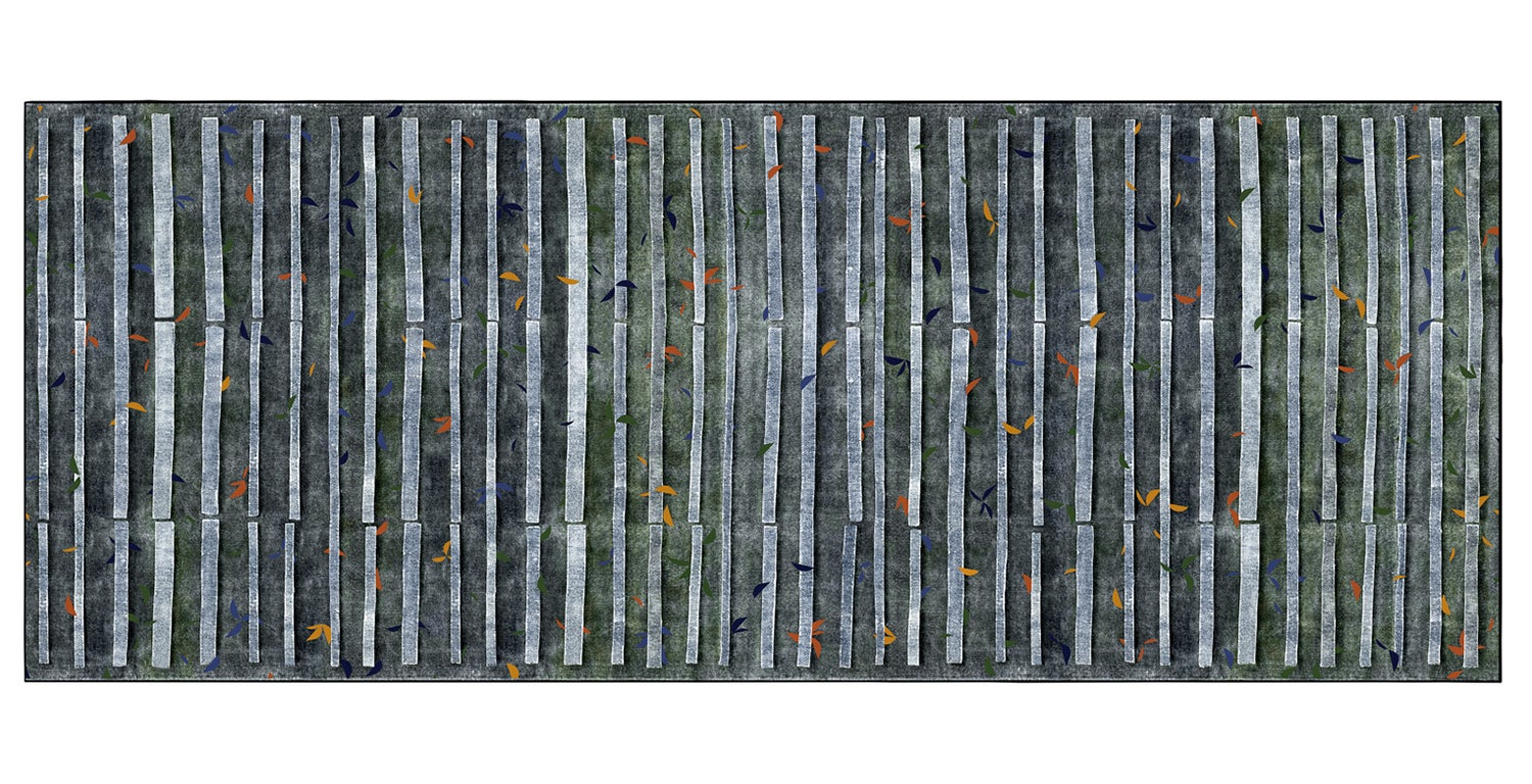 Moving Forest Wool Digitally Printed Rug by Deanna Comellini 200x500 cm