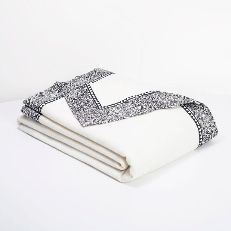 Emilie blankets are milled in England and Viennese-inspired. Milled at the most esteemed mill in the world, operating since 1783 with a Royal Warrant fine fabrics. Throw is 85% Lambswool/15% Cashmere blend. Full size blanket in King or Queen is 100%