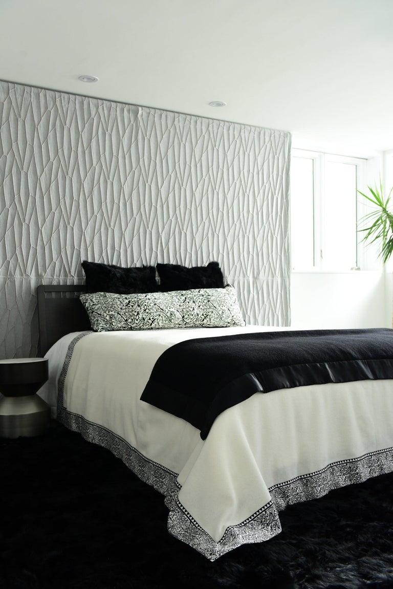 Merino Black King Size Blanket with Grey Print Border by JG SWITZER In New Condition For Sale In Sebastopol, CA