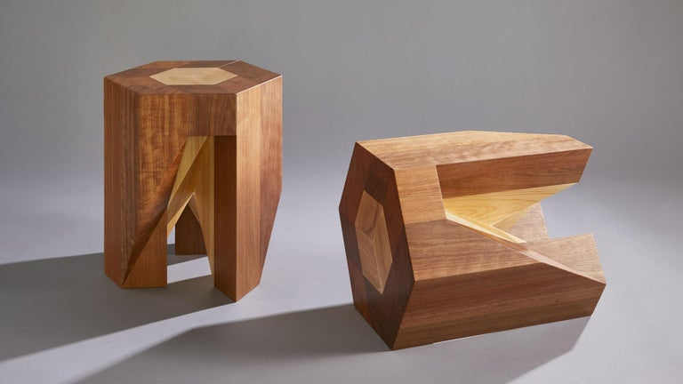 Yosegi stool is awards-winning furniture piece. Inspired by Japanese Kumi-ki puzzles, this stool incorporates traditional Yosegi inlaid wood pattern, and Tsugite geometric wooden joint, techniques. Yosegi Stool is a fun furniture puzzle; two fully