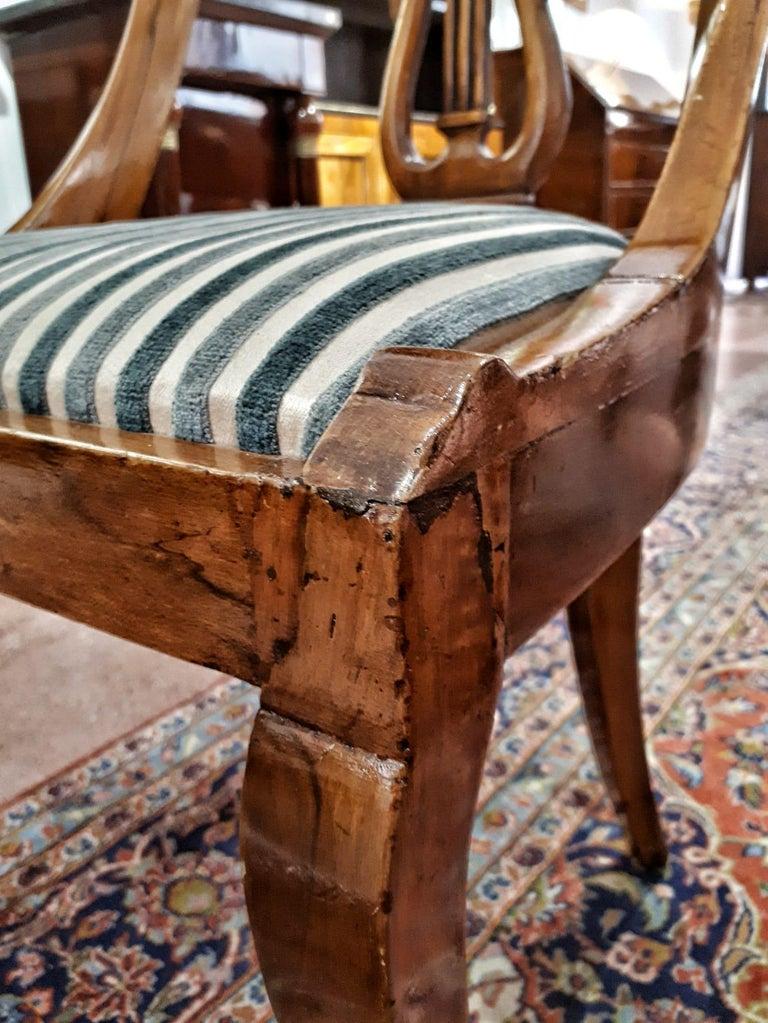 19th Century Napoleon III Walnut French Gondola Chair Restored In Excellent Condition For Sale In Toledo, Castilla La Mancha