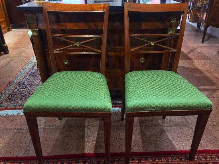 Early 20th Century Walnut Italian Chair Louis XVI Style For Sale 8