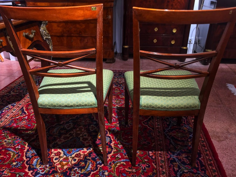 Early 20th Century Walnut Italian Chair Louis XVI Style For Sale 9