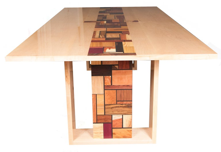 """Title:  """"A Coming Together""""   Form: Dining Table  We designed the dining table to be a very functional piece of art work with its decoration commemorating the Neo-Plasticism Movement and a sub movement arising out of Holland in the 1918 time period"""