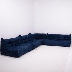 Togo Blue Modular Sofa by Michel Ducaroy for Ligne Roset, Set of 4