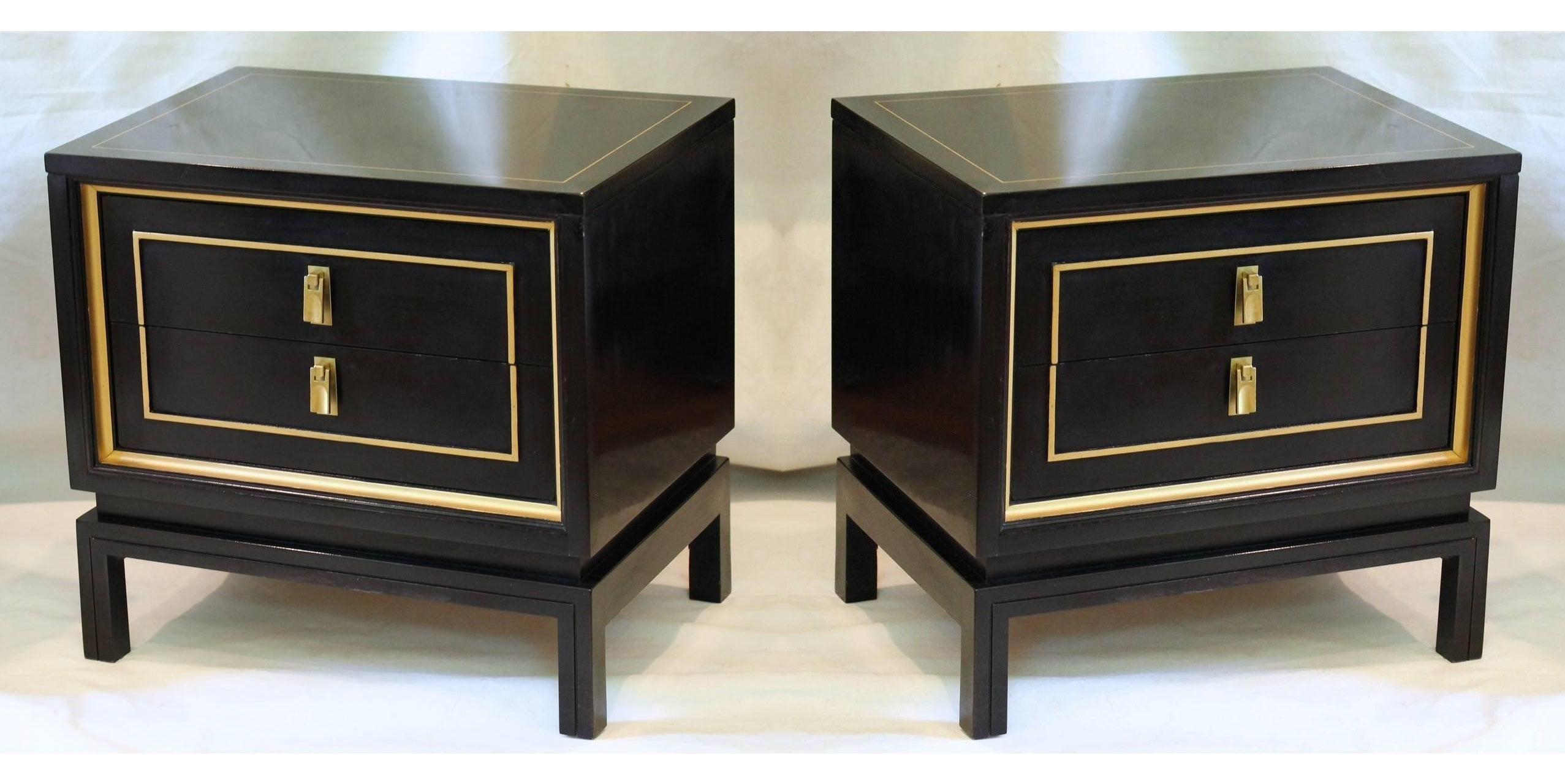 Pair Of Black Lacquered And Gold Nightstands Or End Tables