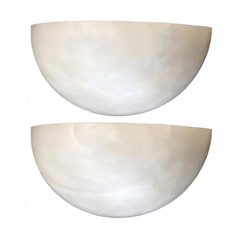 Minimaliist Pair of Alabaster Wall Sconces White Color, , 20th Century 2