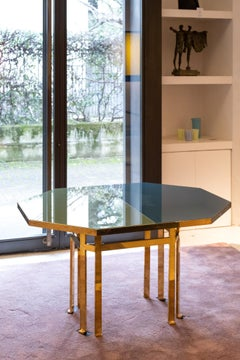 21st Century Filippo Feroldi Brass Table 130 Glass Top Various Colors