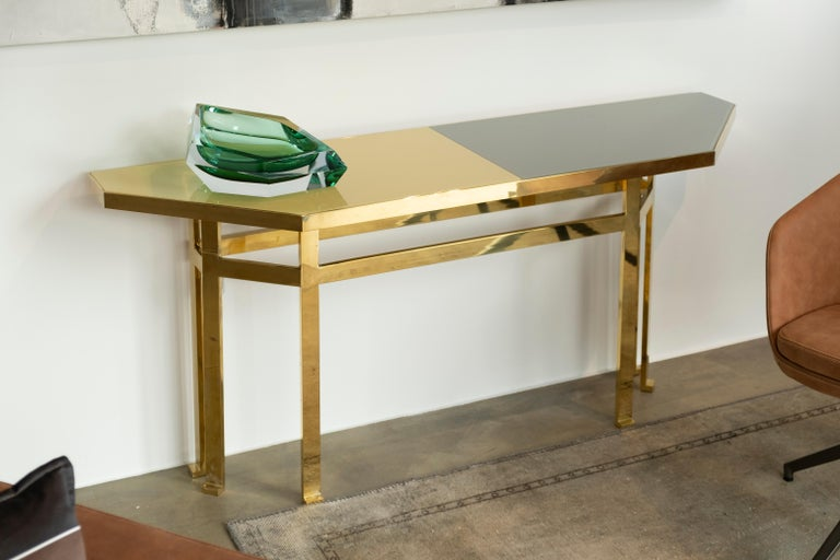 Contemporary 21st Century Filippo Feroldi Brass Console Table Glass Top Various Colors For Sale