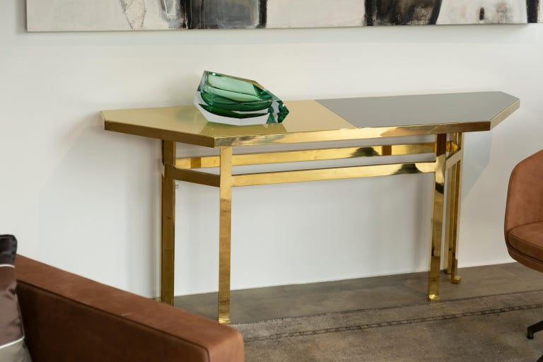 21st Century Filippo Feroldi Brass Console Table Glass Top Various Colors For Sale 1