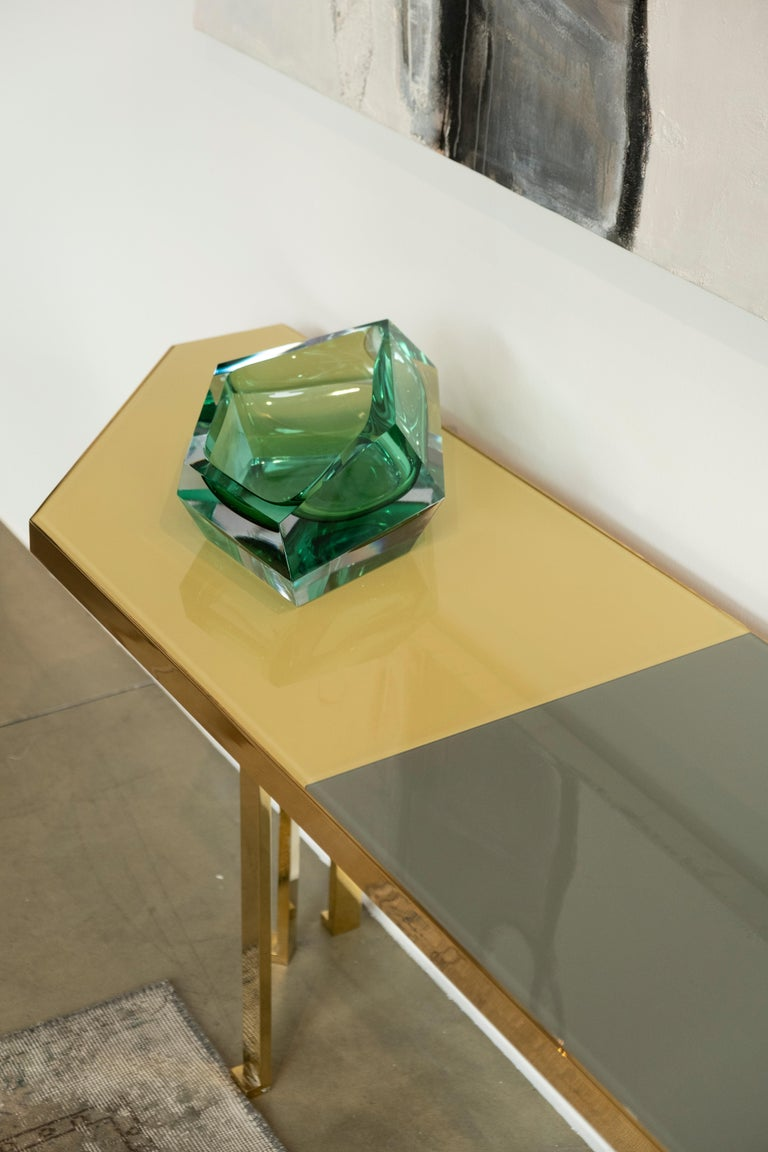 21st Century Filippo Feroldi Brass Console Table Glass Top Various Colors For Sale 2