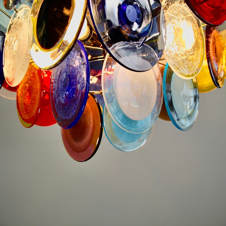 Modern Murano Glass Chandelier with Multicolored Glass Disks