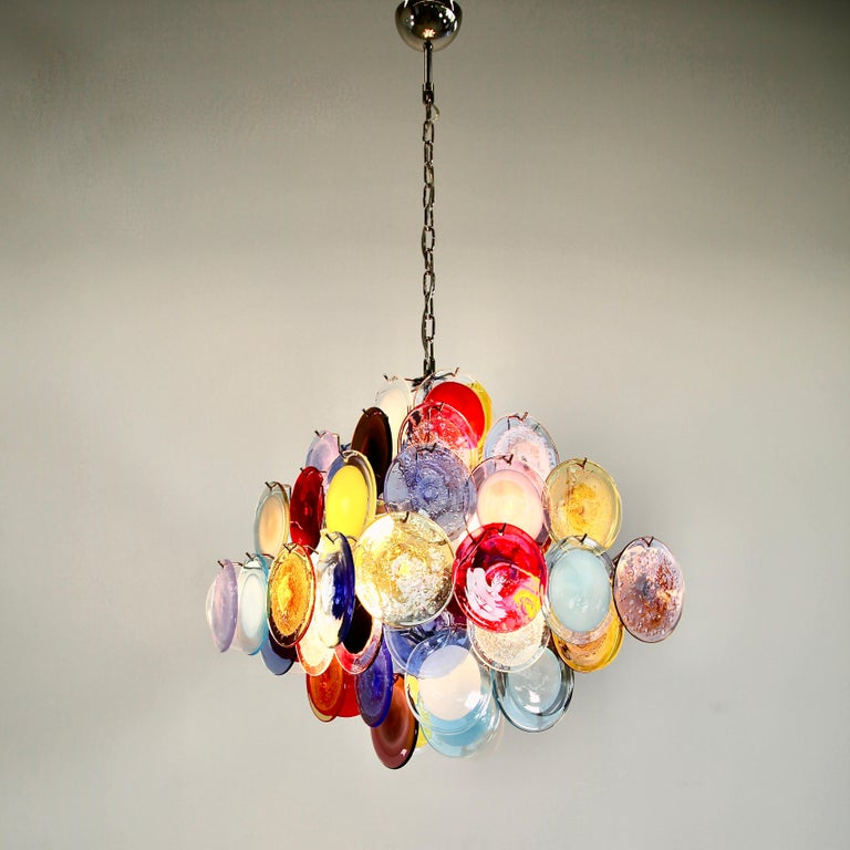 Contemporary Murano Glass Chandelier with Multicolored Glass Disks
