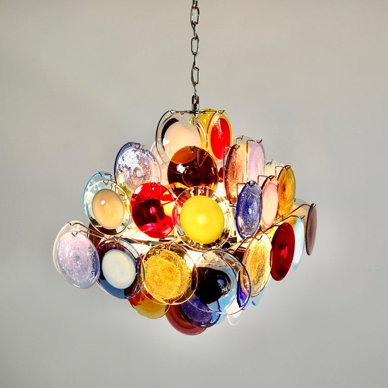 Italian Murano Glass Chandelier with Multicolored Glass Disks