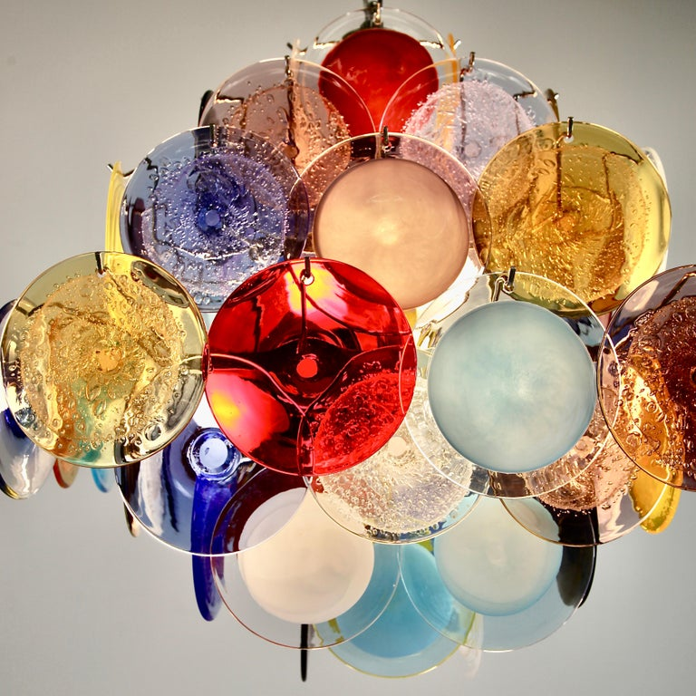 Murano Glass Chandelier with Multicolored Glass Disks In New Condition In Berlin, Berlin