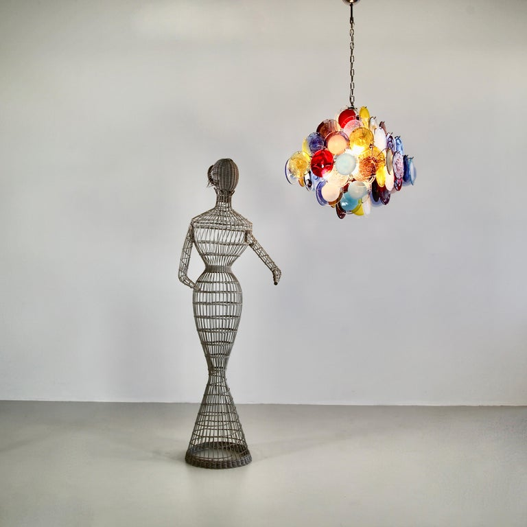 Murano Glass Chandelier with Multicolored Glass Disks 2