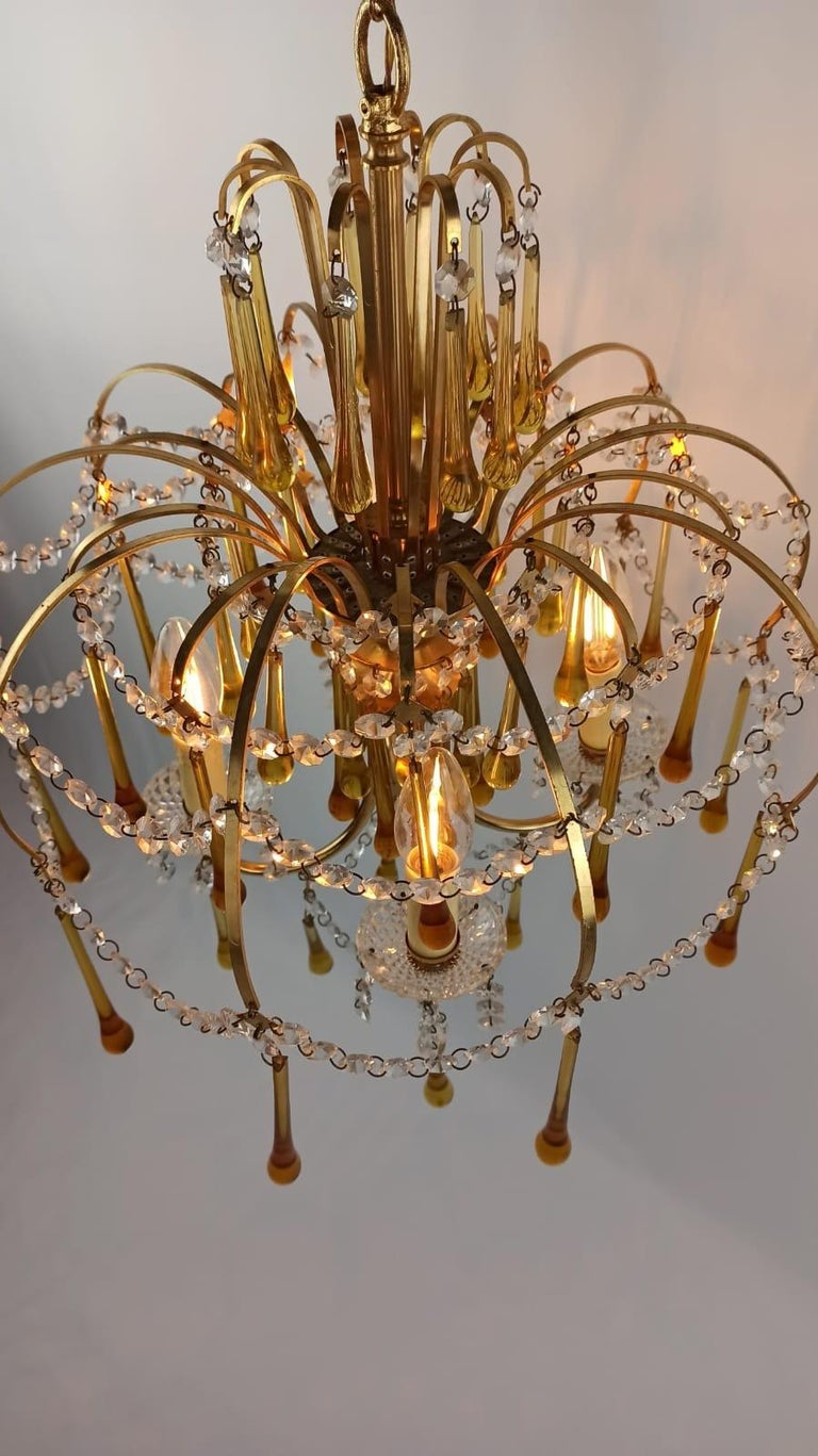 Italian Brass and Murano Amber Glass Tear Drop Chandelier by Paolo Venini, 1960 For Sale 10