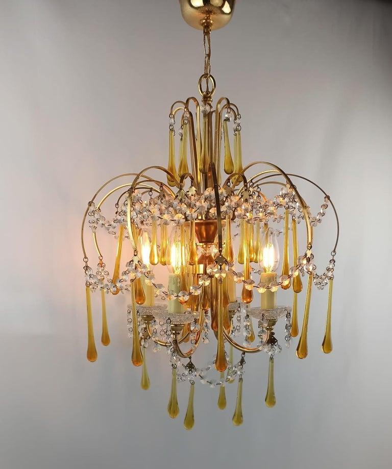 Italian Brass and Murano Amber Glass Tear Drop Chandelier by Paolo Venini, 1960 For Sale 9