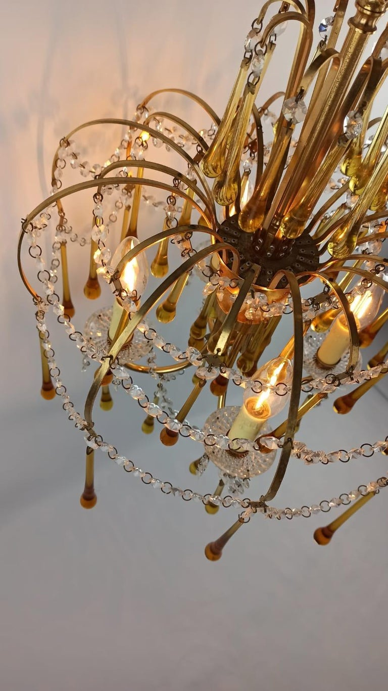Italian Brass and Murano Amber Glass Tear Drop Chandelier by Paolo Venini, 1960 For Sale 11