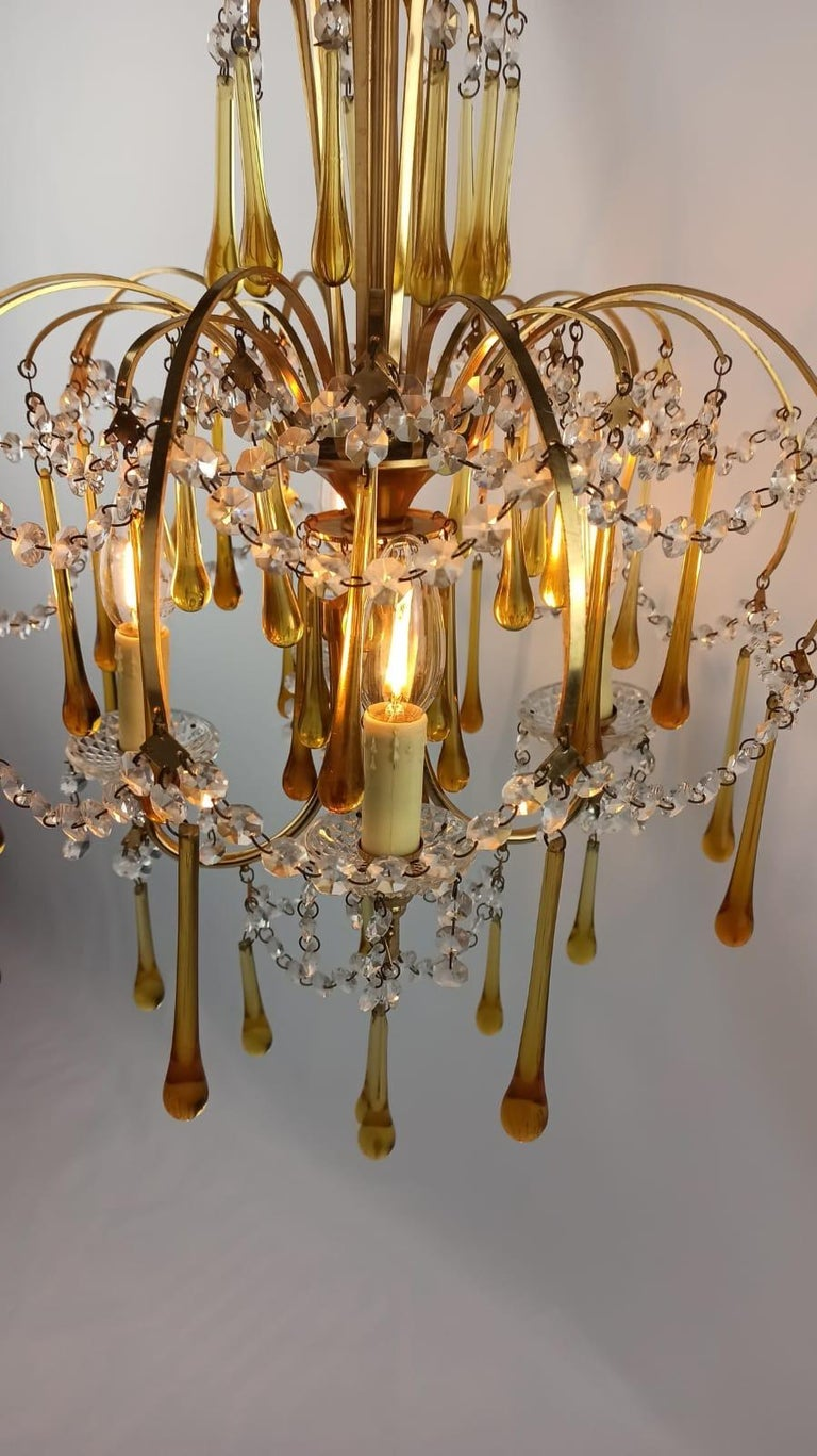 Italian Brass and Murano Amber Glass Tear Drop Chandelier by Paolo Venini, 1960 For Sale 12
