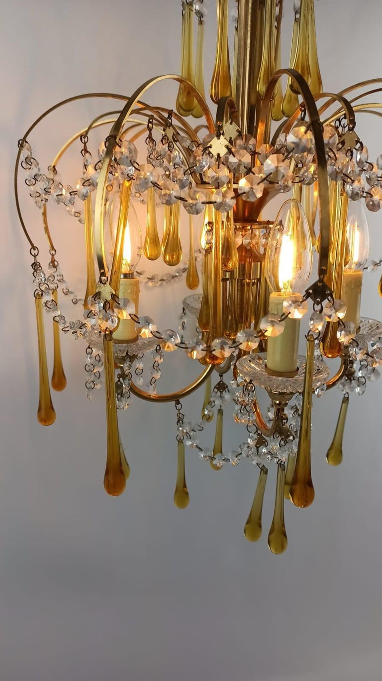 Italian Brass and Murano Amber Glass Tear Drop Chandelier by Paolo Venini, 1960 For Sale 13