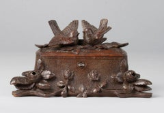 19th Century Black Forest Jewelry Box Carved Chestnut