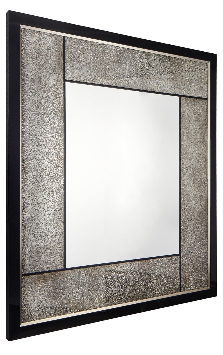 Modern Big Mirror with Cracked Glass and Piano Black/Silver Frame, Available Now For Sale