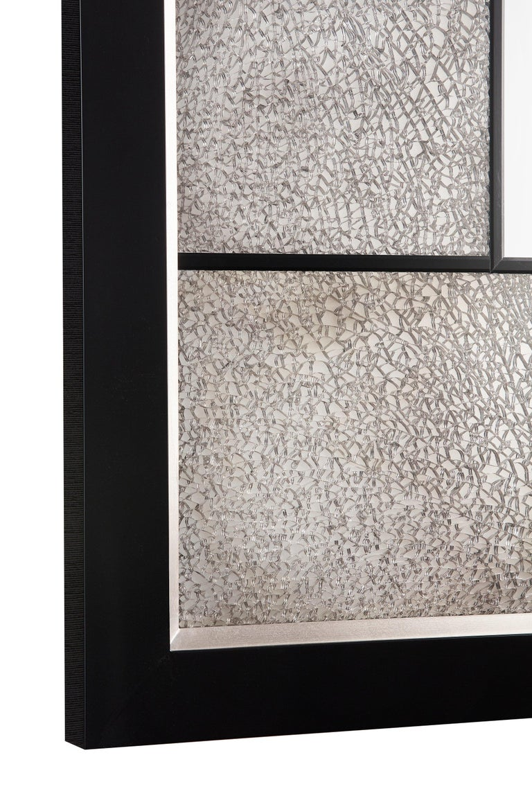 Tempered Big Mirror with Cracked Glass and Piano Black/Silver Frame, Available Now For Sale