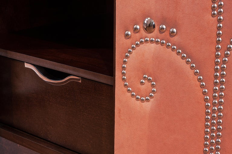 Modern Wardrobe with Pink Alcantara Finish and Studded Pattern, Available Now For Sale 1