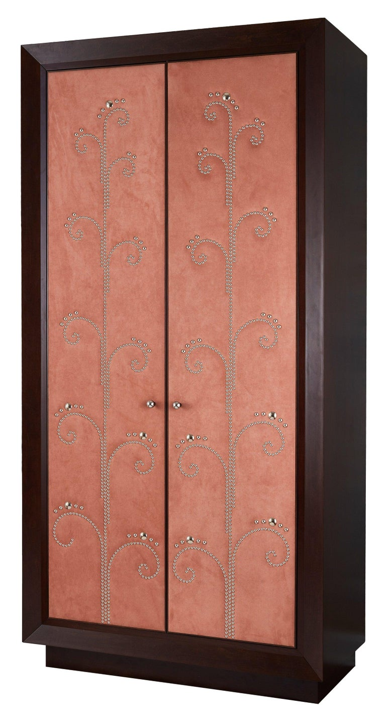 Art Nouveau Modern Wardrobe with Pink Alcantara Finish and Studded Pattern, Available Now For Sale