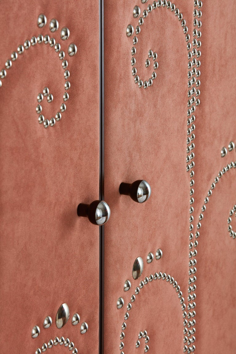 Polish Modern Wardrobe with Pink Alcantara Finish and Studded Pattern, Available Now For Sale