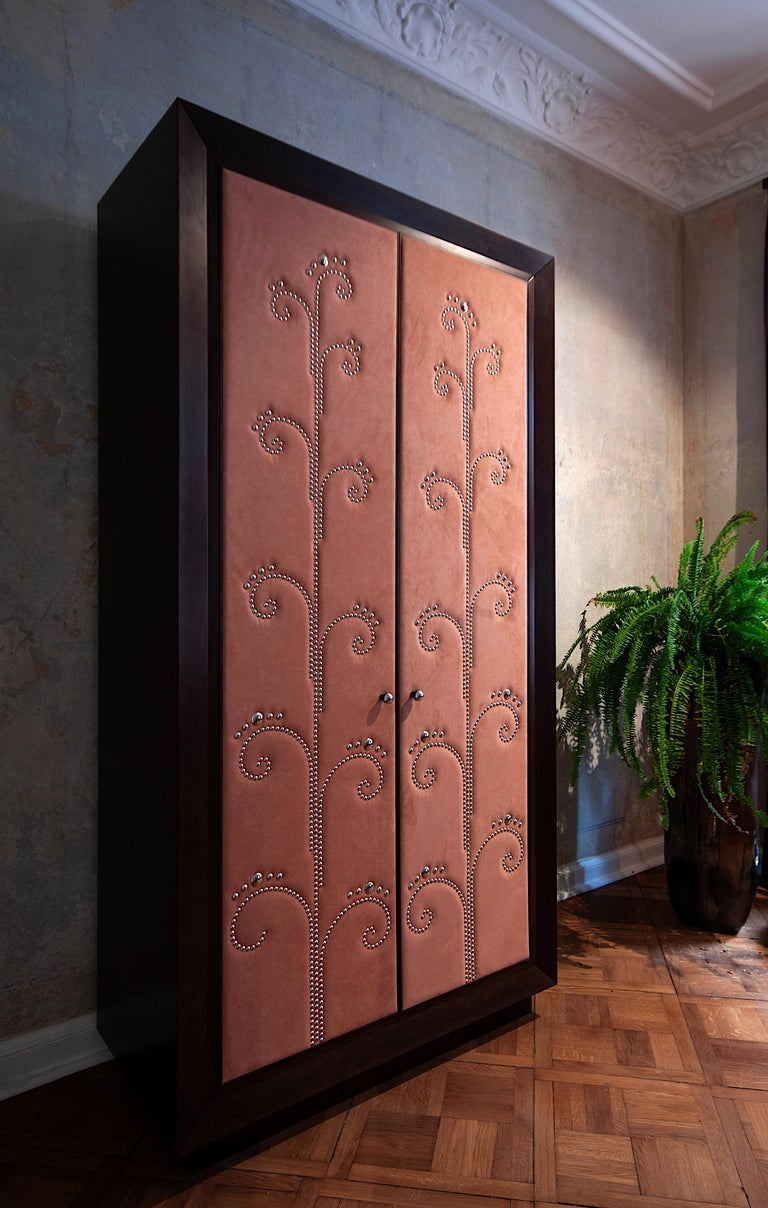 Walnut Modern Wardrobe with Pink Alcantara Finish and Studded Pattern, Available Now For Sale