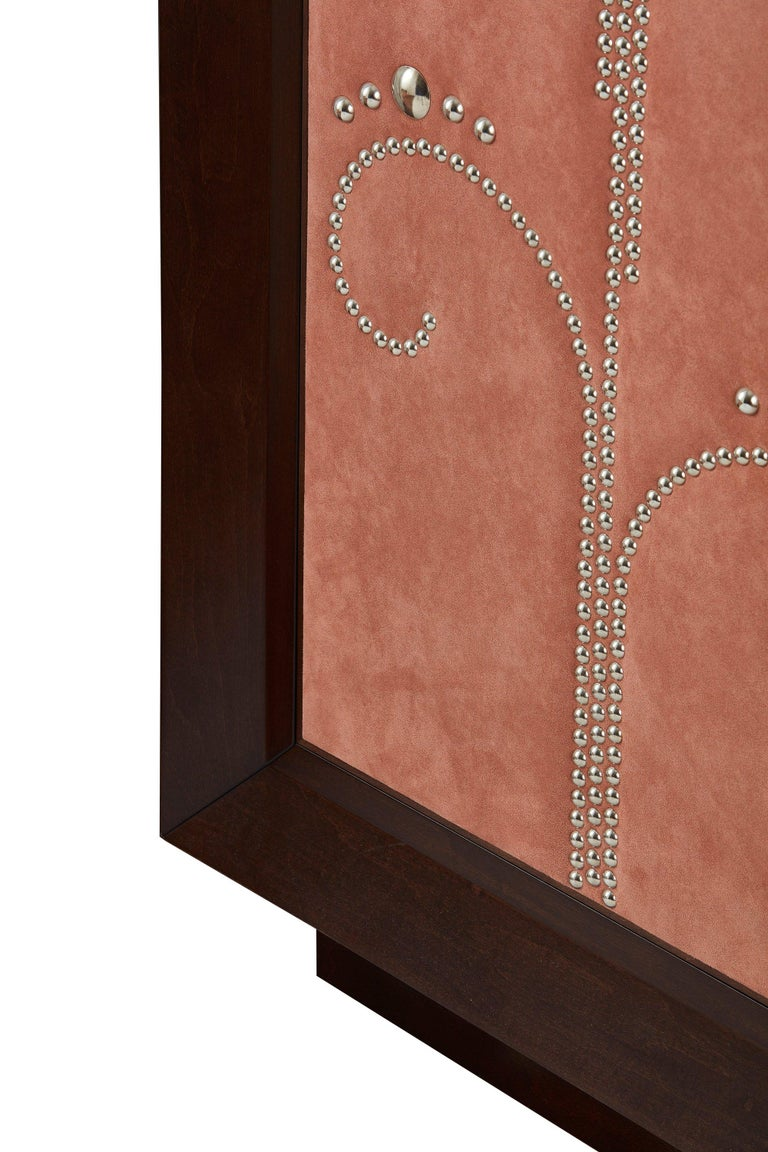 Veneer Modern Wardrobe with Pink Alcantara Finish and Studded Pattern, Available Now For Sale