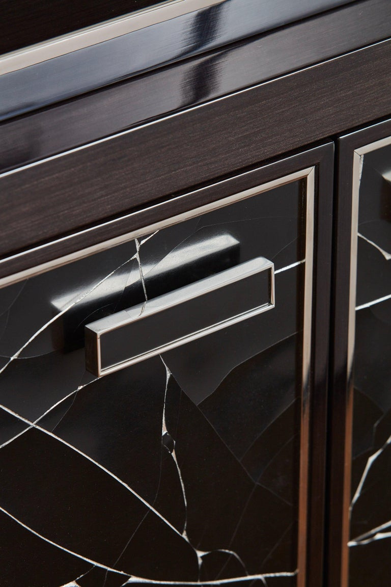Contemporary Modern Cabinet in Stained Oak Veneer with Black Artisan Panels For Sale